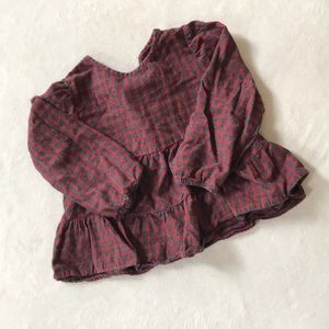 Zara baby flannel long sleeved shirt, size 3-4